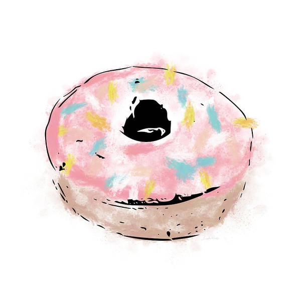 Pink Mixed Media - Pink Sprinkle Donut- Art By Linda Woods by Linda Woods