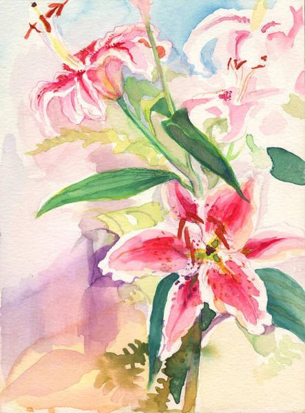Painting - Pink Stargazer Lilies by Nancy Watson