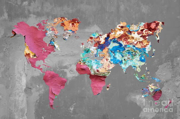 Wall Art - Photograph - Pink Street Art World Map by Delphimages Photo Creations