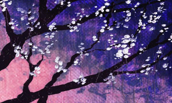 Ultramarine Blue Painting - Pink Sunrise Spring Blossoms by Irina Sztukowski