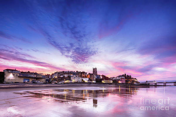 Norfolk Photograph - Pink Sunset Reflections Over Cromer Town At Dusk by Simon Bratt Photography LRPS