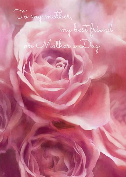Wall Art - Digital Art - Pink Tea Rose Mother's Day Card by SharaLee Art
