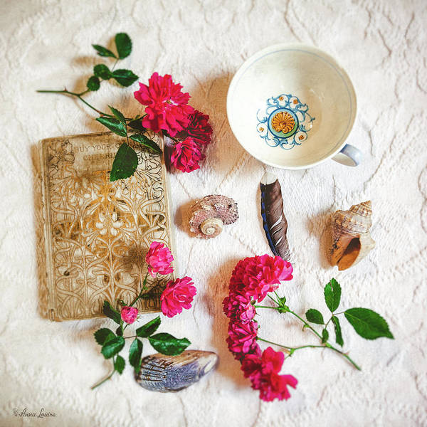 Photograph - Pink Tea Roses And Collectibles by Anna Louise
