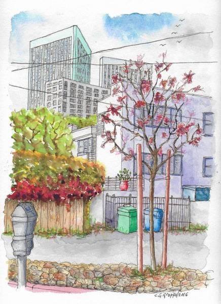 Roxbury Wall Art - Painting - Pink Tree In Roxbury Park, Beverly Hills, California by Carlos G Groppa