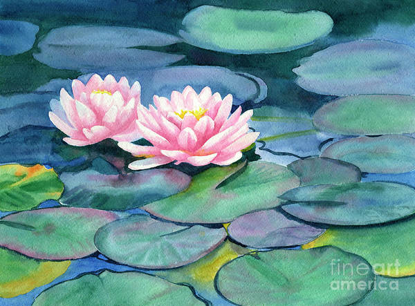 74c26d9bc451a3 Waterlily Wall Art - Painting - Pink Water Lilies With Colorful Pads by  Sharon Freeman