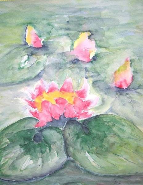 Painting - Pink Water Lillies On Blue Pastel by Joy of Life Art