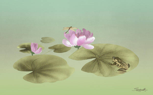 Wall Art - Digital Art - Pink Water Lily And Frog by M Spadecaller
