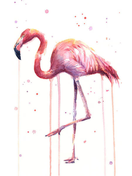 Exotic Painting - Pink Watercolor Flamingo by Olga Shvartsur