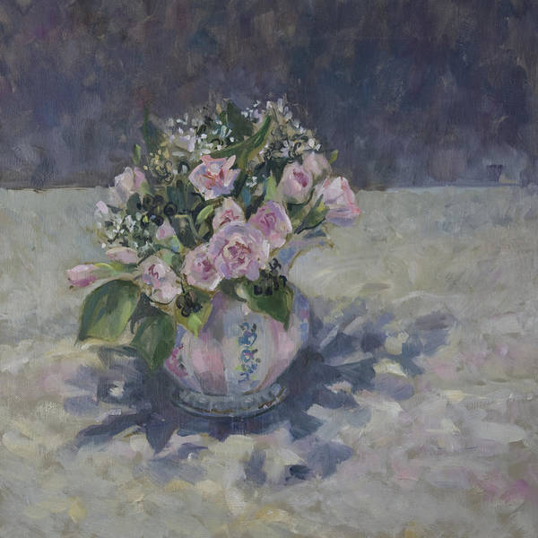 Shades Of Green Painting - Pinks In Stripey Jug by Sue Wales