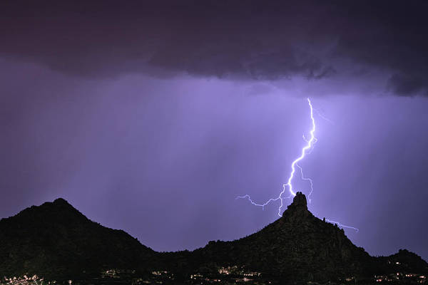 Photograph - Pinnacle Peak Lightning Bolt by James BO Insogna