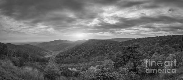 Pinnacles Photograph - Pinnacles Overlook Shenandoah Np Pano Bw by Michael Ver Sprill