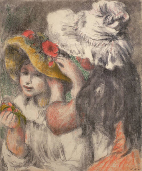 Wall Art - Painting - Pinning The Hat by Pierre Auguste Renoir