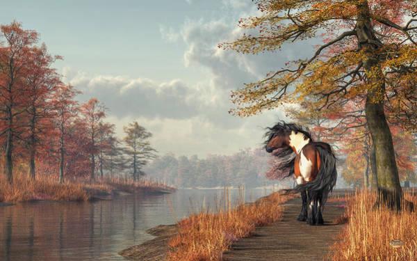 Digital Art - Pinto Horse On A Riverside Trail by Daniel Eskridge