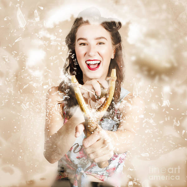 Smashed Photograph - Pinup Woman Shooting Rocks With Toy Slingshot by Jorgo Photography - Wall Art Gallery
