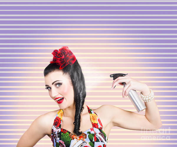Hair Stylist Wall Art - Photograph - Pinup Woman Styling A Hold With Hair Product by Jorgo Photography - Wall Art Gallery