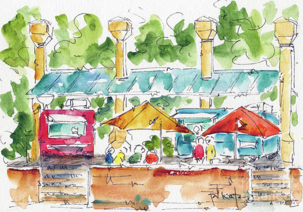 Painting - Pioneer Courthouse Square Food Trucks Portland by Pat Katz