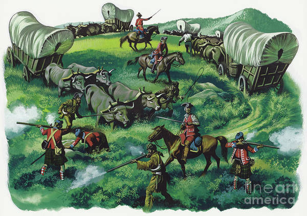 Migration Painting - Pioneers Under Attack From Native American Indians by Ron Embleton