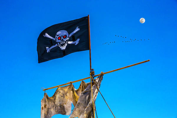 Gay Flag Photograph - Pirate Flag And Moon by Garry Gay