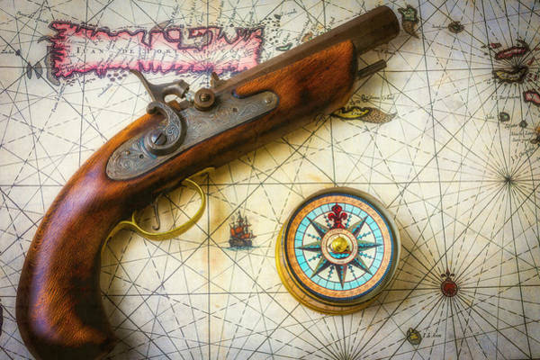 Wall Art - Photograph - Pirate Pistole On Old Map by Garry Gay