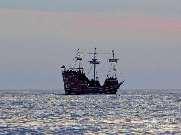 Photograph - Pirate Ship At Sunset by D Hackett