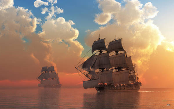 Digital Art - Pirate Sunset by Daniel Eskridge