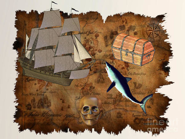 Rudder Painting - Pirate Treasure by Corey Ford