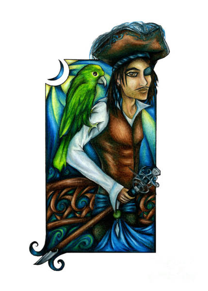 Drawing - Pirate With Parrot Art by Kristin Aquariann