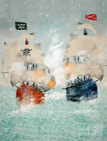 Tall Ships Wall Art - Painting - Pirates Ahoy by Bri Buckley
