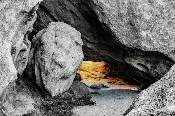 Pirate's Cave, Black And White And Gold Art Print