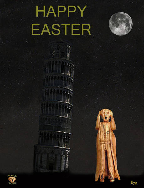 Mixed Media - Pisa The Scream World Tour Happy Easter by Eric Kempson