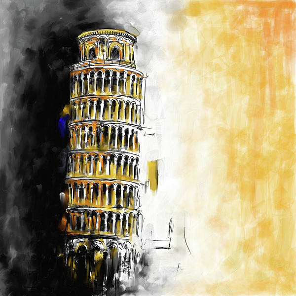 Square Tower Painting - Pisa Tower 567 1 by Mawra Tahreem