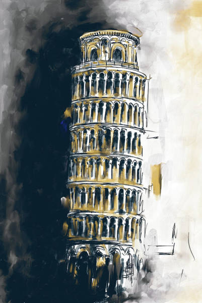 Square Tower Painting - Pisa Tower 567 2 by Mawra Tahreem