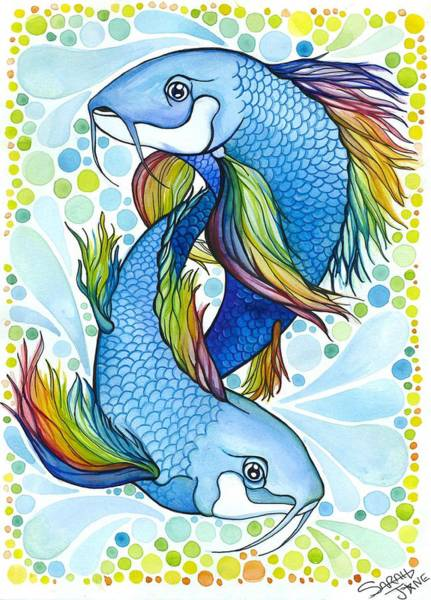 Sealife Painting - Pisces by Sarah Jane