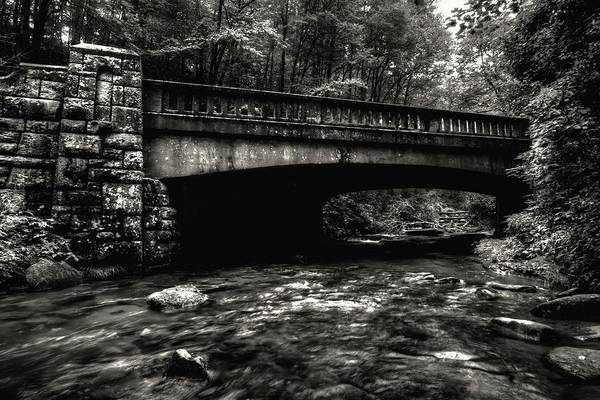 Photograph - Pisgah National Forest Stone Bridges In Black And White by Carol Montoya