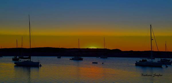 Morro Bay Painting - Morro Bay California Sunset Abstract by Barbara Snyder