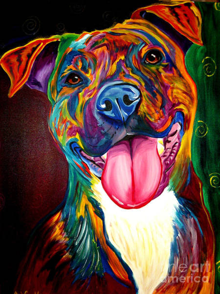 Framed Painting - Pit Bull - Olive by Alicia VanNoy Call