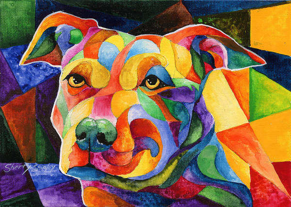 Painting - Pit Bull 1 by Sherry Shipley