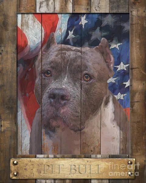 Digital Art - Pit Bull Flag Poster by Tim Wemple