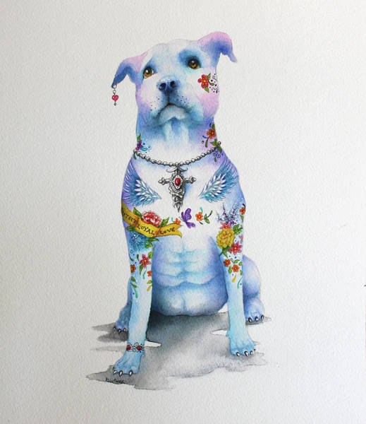 Wall Art - Mixed Media - Pit Bull Penny Tattoo Dog by Patricia Lintner