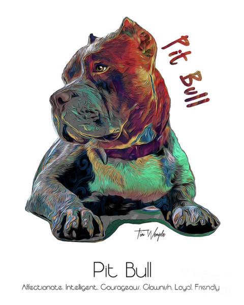 Digital Art - Pit Bull Pop Art by Tim Wemple