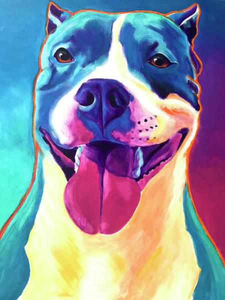 Wall Art - Painting - Pit Bull - Popcorn by Alicia VanNoy Call