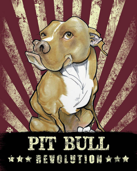 Drawing - Pit Bull Revolution by John LaFree