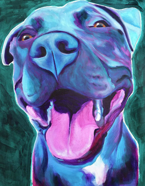 Wall Art - Painting - Pit Bull - Sky Blue by Alicia VanNoy Call
