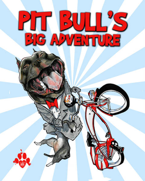 Drawing - Pit Bull's Big Adventure Caricature by John LaFree