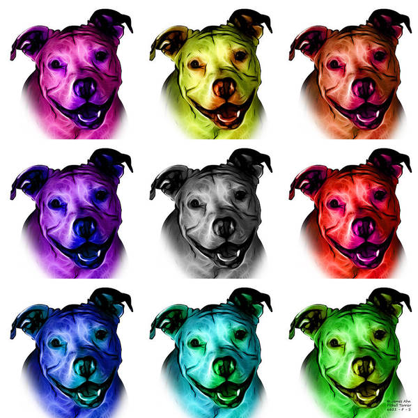 Digital Art - Pitbull Terrier - F - S - Wb - Mosaic by James Ahn