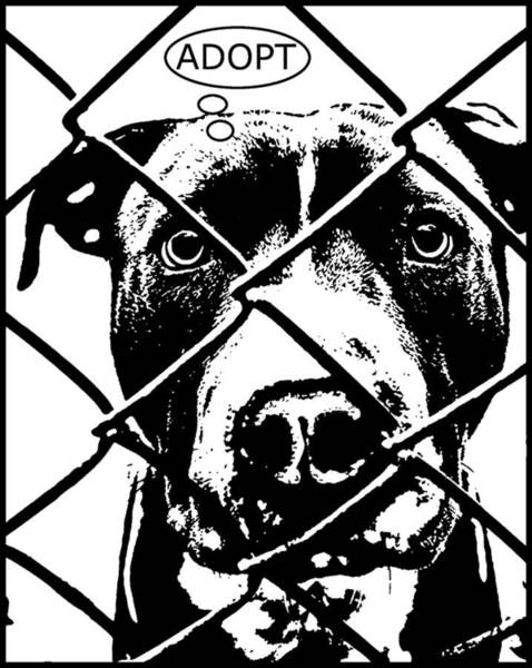 Pitbull Painting - Pitbull Thinks Adopt by Dean Russo Art