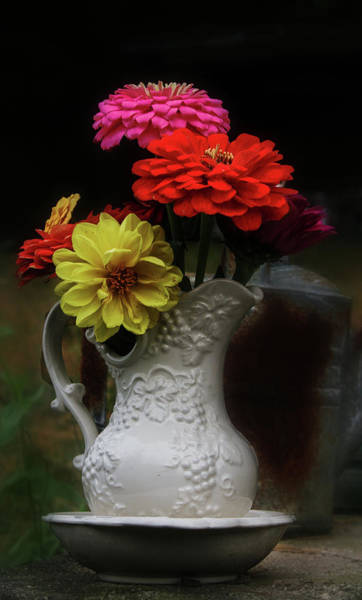 Photograph - Pitcher And Zinnias by Jeff Kurtz