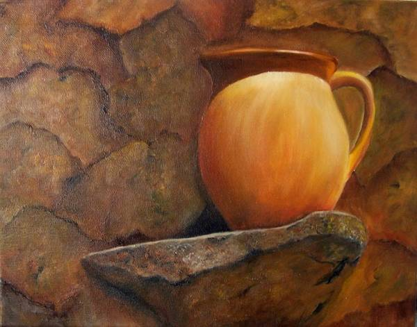 Painting - Pitcher On Stone Ledge. Sold by Susan Dehlinger
