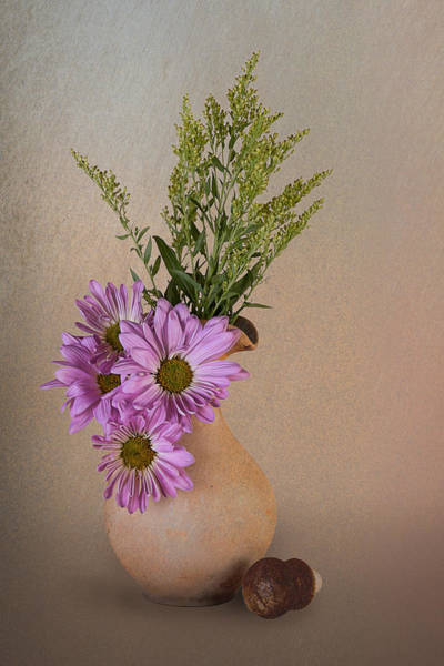 Floral Arrangement Photograph - Pitcher With Daisies by Tom Mc Nemar