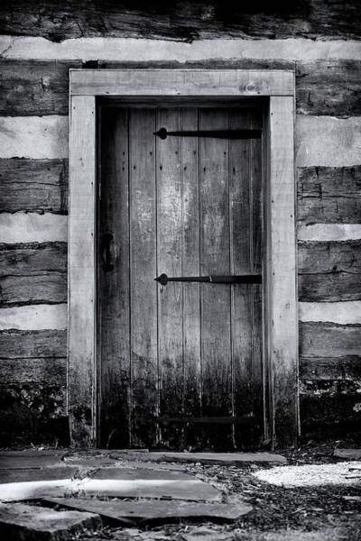 Wall Art - Photograph - Pitt Cabin Door - Bw by Stephen Stookey